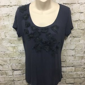 Cable & Gauge Gray Feather Beaded Top F38